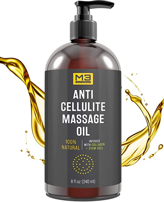 M3 Naturals Anti Cellulite Massage Oil Infused with Collagen and Stem Cell Natural Essential Oil Treatment Firm Tighten Tone Regenerate Moisturize Unwanted Fat Tissue Stretch Mark Massager 8 FL OZ best cellulite products