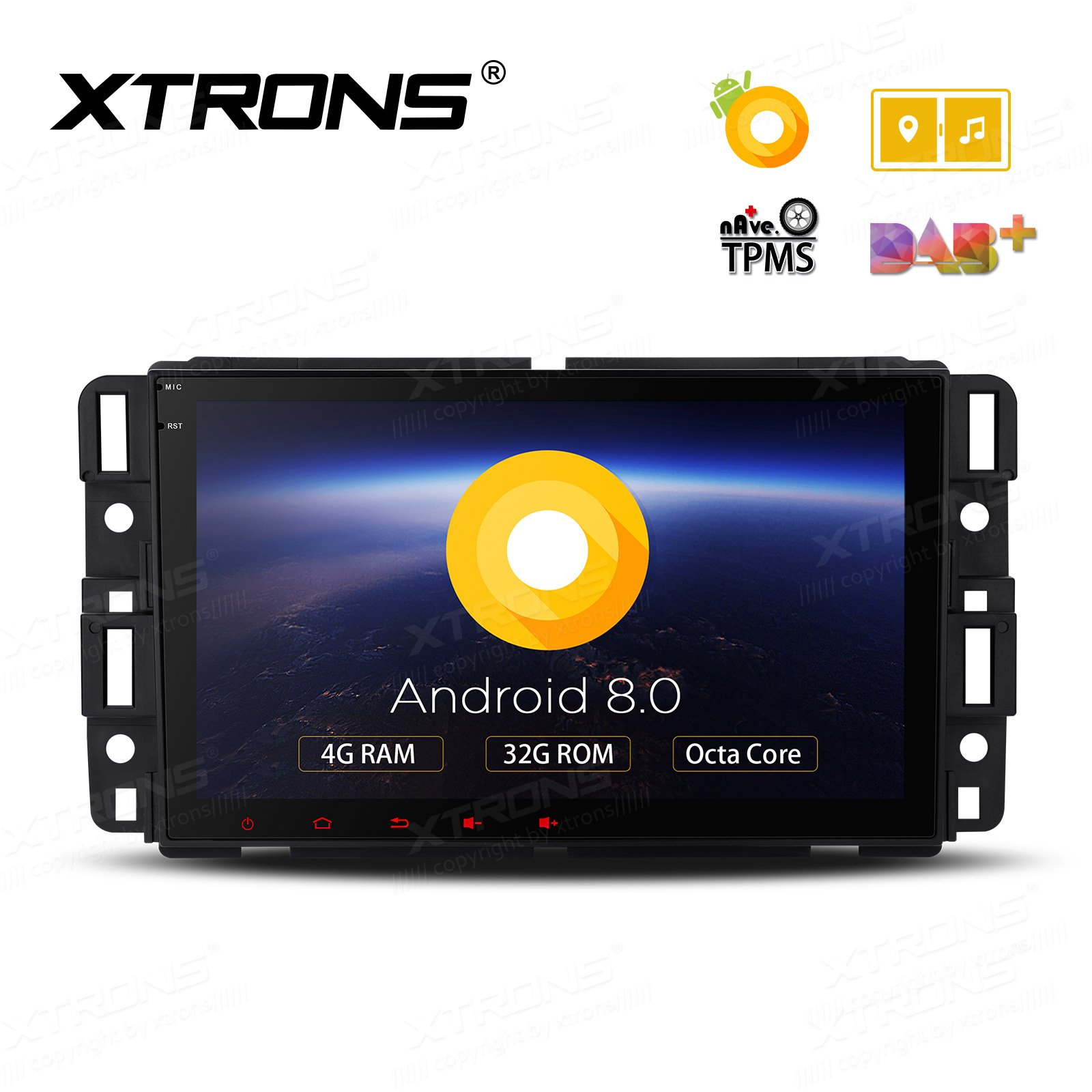 XTRONS 8 Inch Android 8.0 Octa Core 4G RAM 32G ROM Multi Touch Screen Car Stereo Player GPS DVR Wifi TPMS OBD2 for GMC Chevrolet Hummer