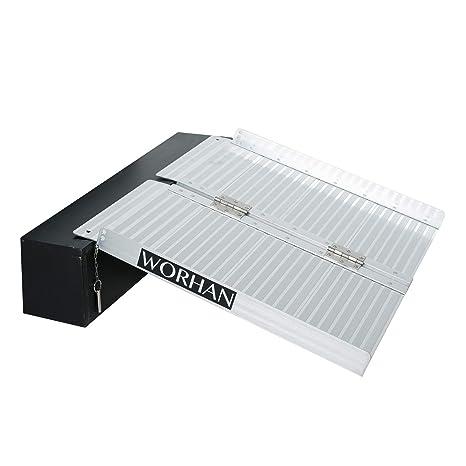 WORHAN® 61cm Rampa Plegable Carga Silla de Ruedas Discapacitado Movilidad Aluminio R2