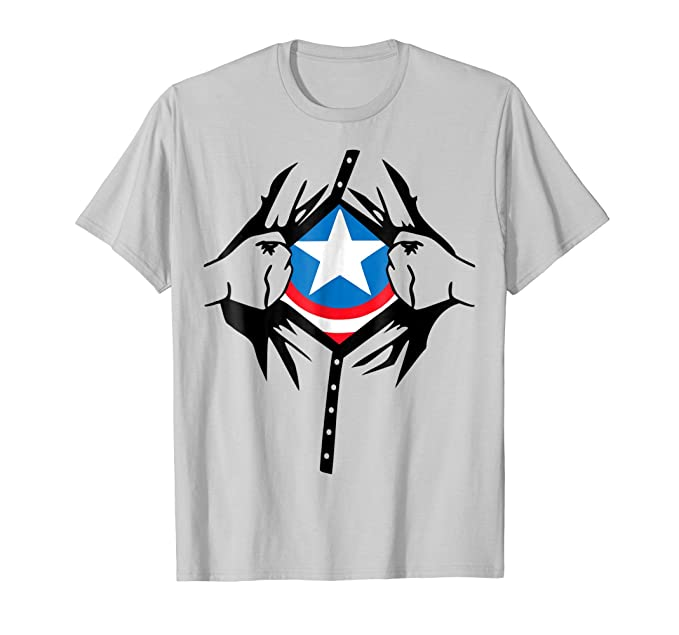 Mens Superhero Costume Man Woman Kids Birthday Gift Idea T Shirt 2XL Silver