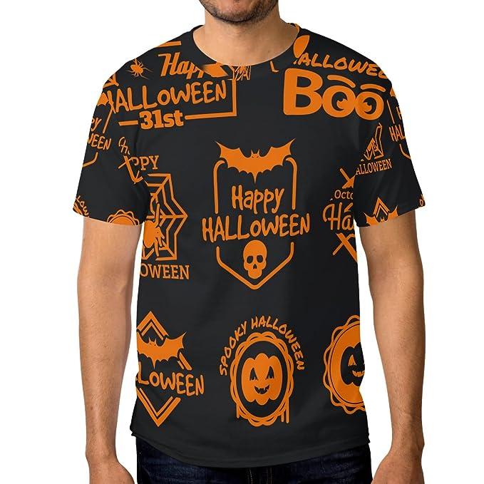COOSUN s menâ manga de color naranja de Halloween Etiquetas Breve Camisetas: Amazon.es: Ropa y accesorios