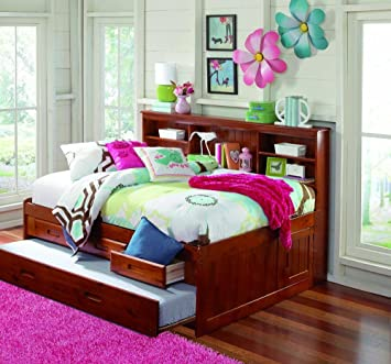merlot full captain bookcase daybed with 3 drawers unit