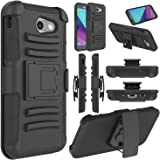 Galaxy J3 Emerge Case, Galaxy J3 2017 Case, Elegant Choise Heavy Duty Dual Layer Full Body Protective Kickstand Case Cover with Belt Clip Holster Case for Samsung Galaxy J3 Emerge (Black)