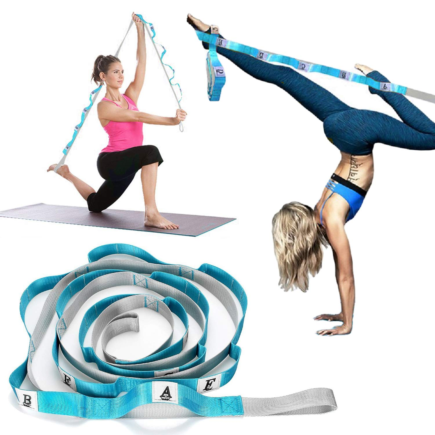 Stretching Strap Fitness Yoga, Double Stitched 10-Loops Exercise Band, Leg Stretcher Training Equipment Physical Therapy Belt for Rehab Dance Gymnastics Pilates Stretches Taekwondo MMA Ballet (Blue)