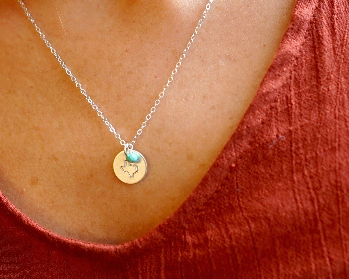 Texas State Pride Necklace, Sterling Silver TX Disk Jewelry Gift for Grad, Teenager, Moving Away Gift by Efy Tal Jewelry (Image #3)