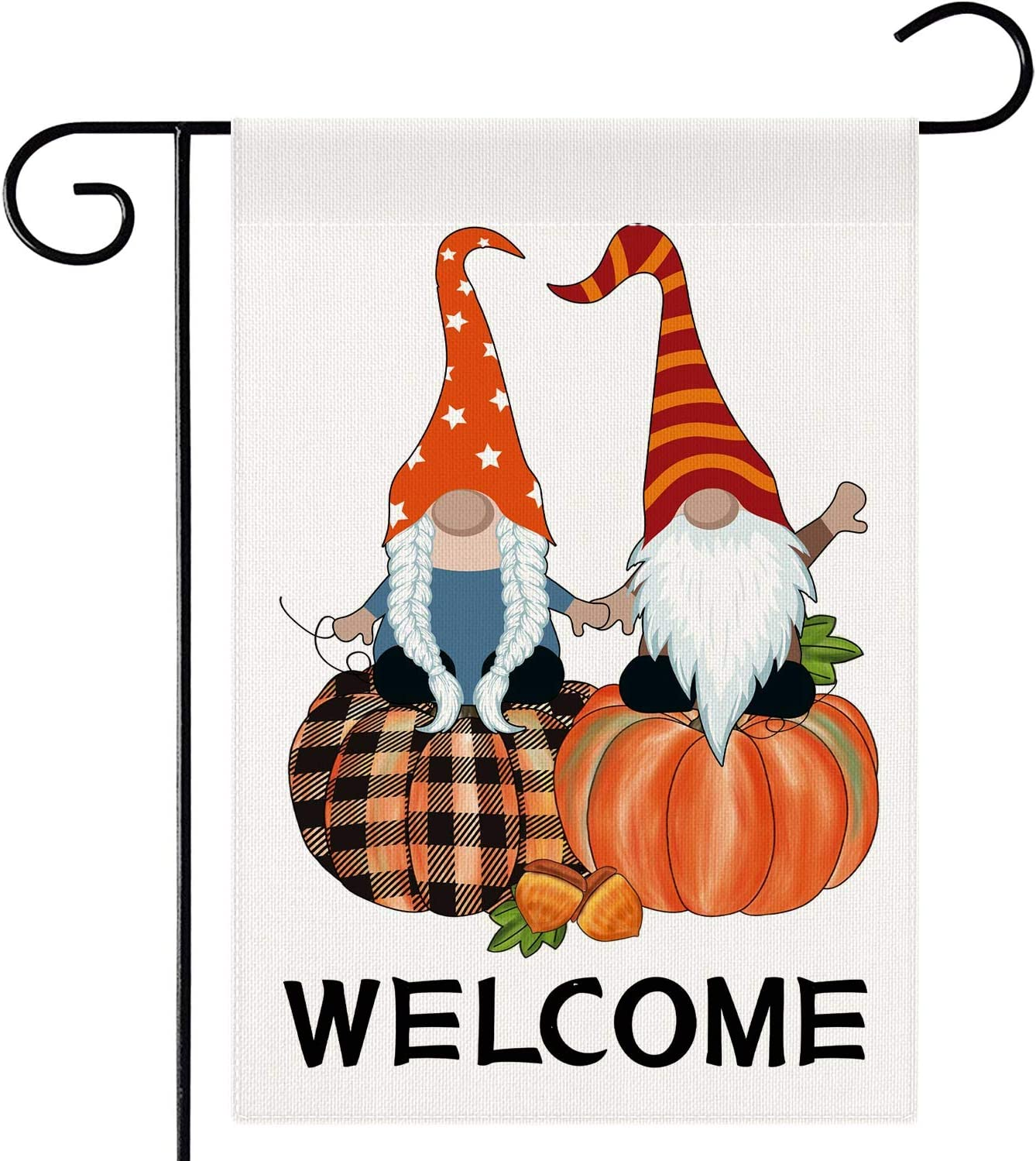 Dsweesun Welcome Fall Garden Flag 12 x 18 Double Sided, Pumpkin Gnome Flag, Rustic Farmhouse Autumn Thanksgiving Front Porch Yard Outdoor Decoration