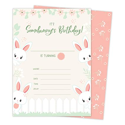 Amazon Bunny Rabbit 2 Happy Birthday Invitations Invite Cards