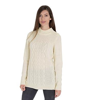 2b5f4822093e Wool Overs Pullover aus Reiner Wolle mit Knöpfen auf der Schulter für Damen  Cream, XL  Amazon.de  Bekleidung