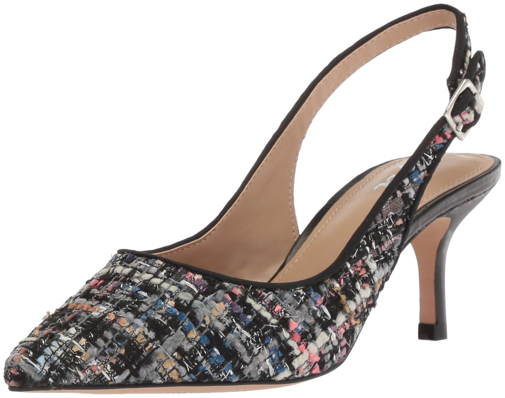 The Fix Women's Felicia Slingback Kitten Heel Pump, Black/Multi Tweed, 9 B US