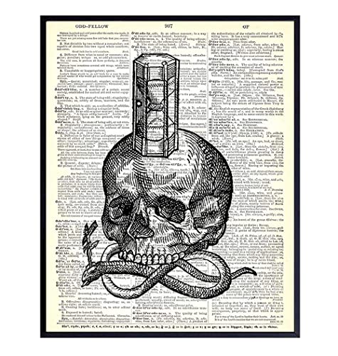 Amazon Com Skull Snake Hourglass Goth Gothic Home Decor Gift For Occult Wicca Wiccan Esoteric Arts Fan Vintage Dictionary Room Decor Wall Art Print Steampunk Poster 8x10 Unframed Handmade