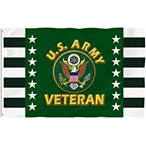 Bonsai Tree 3x5 Feet Us Army Veteran Flag - Vivid Color and Fade Resistant and Double Sided - Military Flags Polyester with Brass Grommets American Home Decorations
