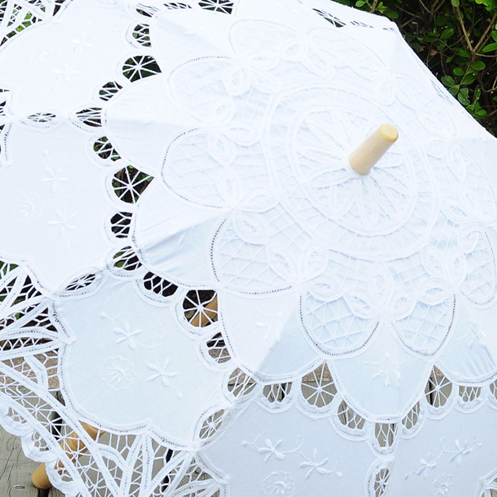 TBNA Bridal Lace Umbrellas Wedding Umbrella Bridal Parasol Umbrella for Bride Bridesmaid by TBNA Bridal (Image #2)