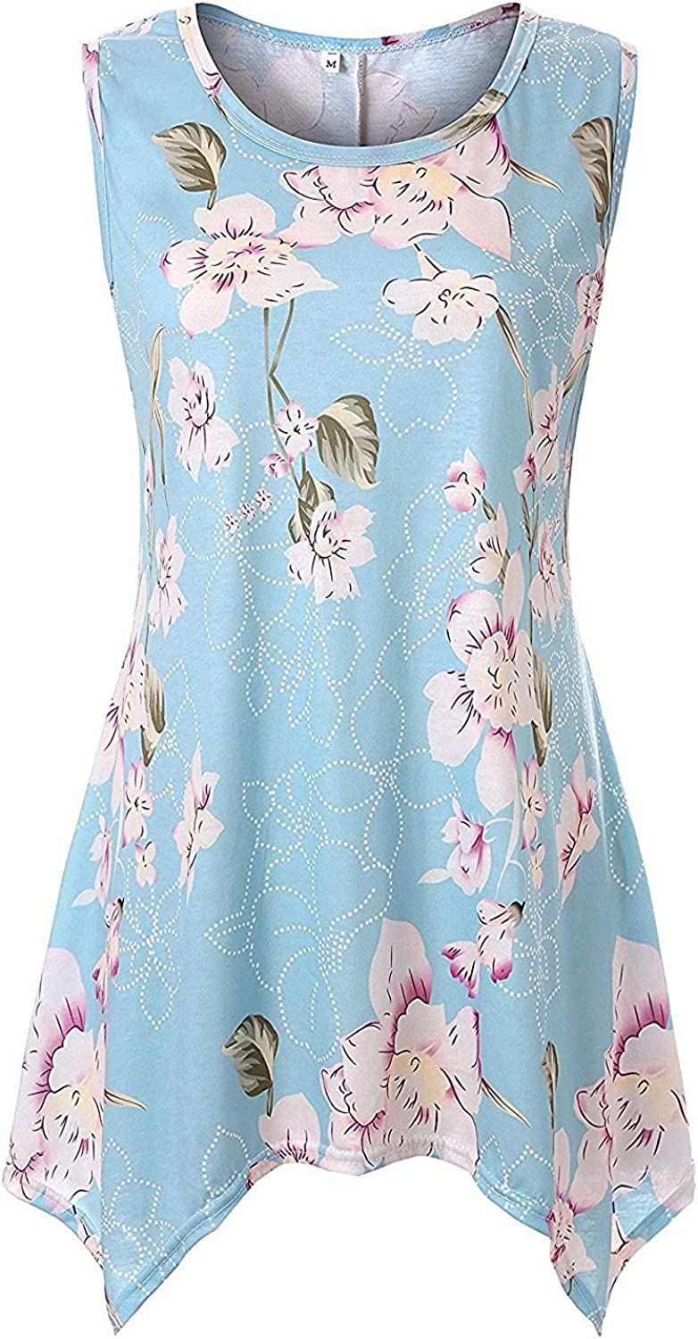 Viracy Womens Summer Casual Sleeveless Swing Tunic Floral Tank Top