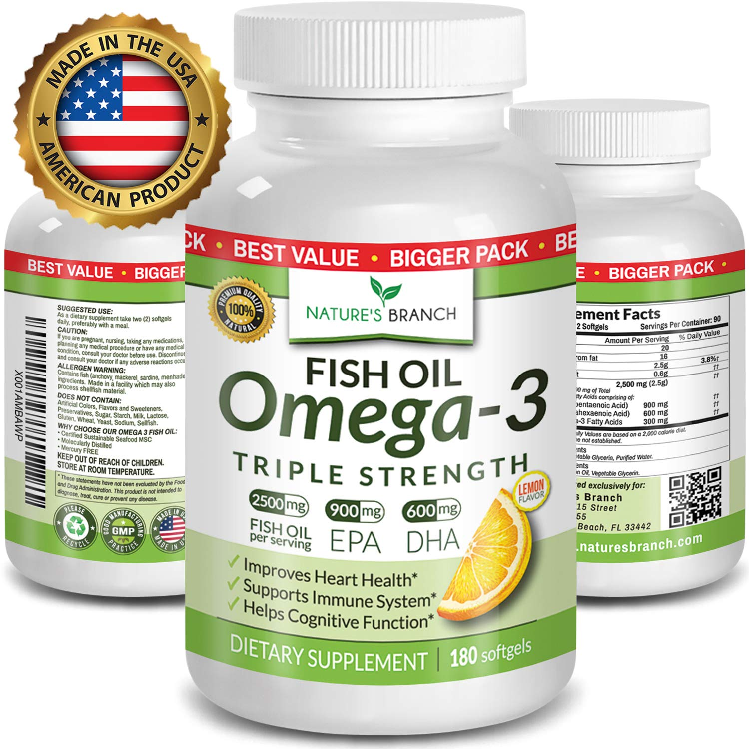 Best Triple Strength Omega 3 Fish Oil Pills - 180 Capsules - 2500mg High Potency Burpless Lemon Flavor 900mg EPA 600mg DHA Ultra Pure Liquid Softgels for Brain Joints Eyes Heart Health Supplement by Nature's Branch