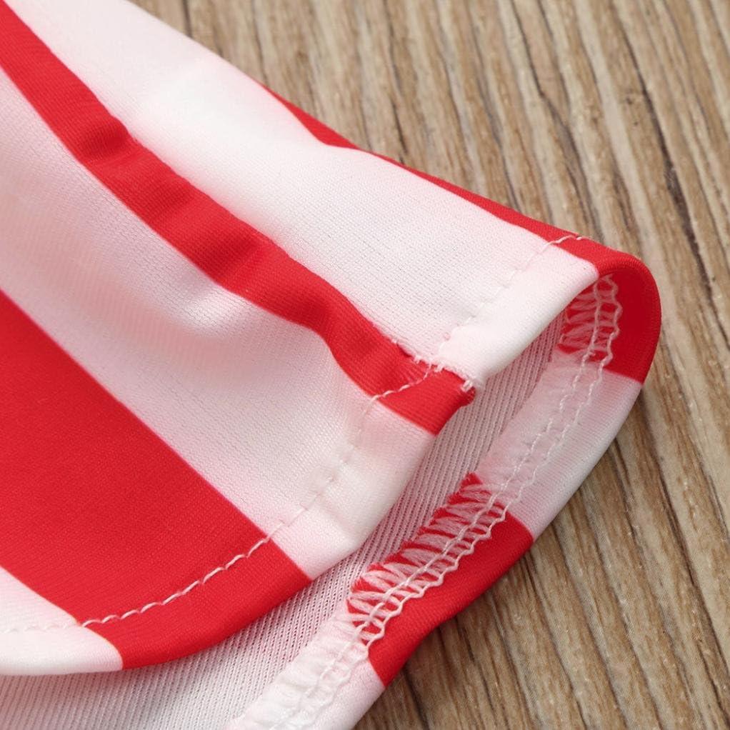 LNGRY Infant Kids Baby Girls Swimwear Striped Straps Swimsuit Bathing Bikini Set