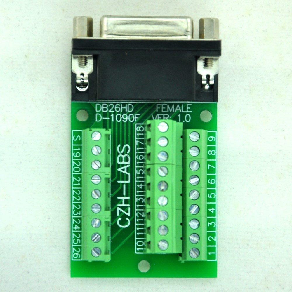Terminal Block DSUB Connector. Electronics-Salon Slim Right Angle DSUB DB26HD Female Header Breakout Board Module