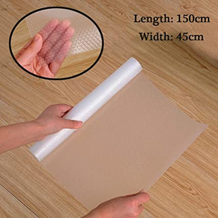 GETKO WITH DEVICE EVA Non-Adhesive Waterproof Non-Slip Washable Mat for Home, Refrigerator, Office, Cars (150x45cm, Transparent)