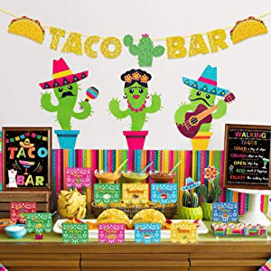 UTOPP Taco Bar Decoration Kit,Taco Bar Banner Table Sign Food Tents Cup Tags for Mexican Fiesta Cinco De Mayo Baby Shower Supplies,Bridal Shower,Taco Birhthday Party Decor
