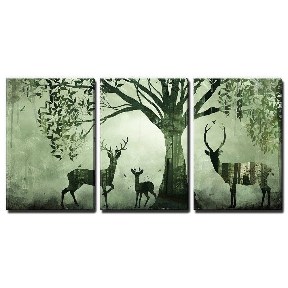 wall26 3 Panel Animal Canvas Wall Art - Double Exposure Artwork with Deer and The Forest - Giclee Print Gallery Wrap Modern Home Decor Ready to Hang - 16''x24'' x 3 Panels