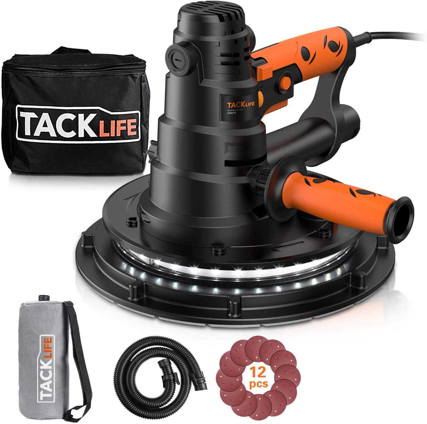 PDS03B 15ft Cable Variable Speed,Automatic Vacuum System /& LED Light 12 Pcs Sanding Discs and a Carry Bag TACKLIFE Handheld Drywall Sander 6.7A Electric Drywall Sander with Dust Collection System