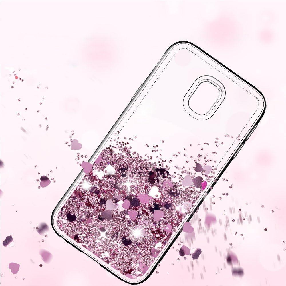 Hellviolett Mosoris H/ülle Galaxy J7 2017 Glitzer Fl/üssig Transparente D/ünn Resistante Protection Schutzh/ülle Case Herz Sparkle Weich TPU Silikon Cover Bumper Handyh/ülle f/ür Samsung Galaxy J7 2017