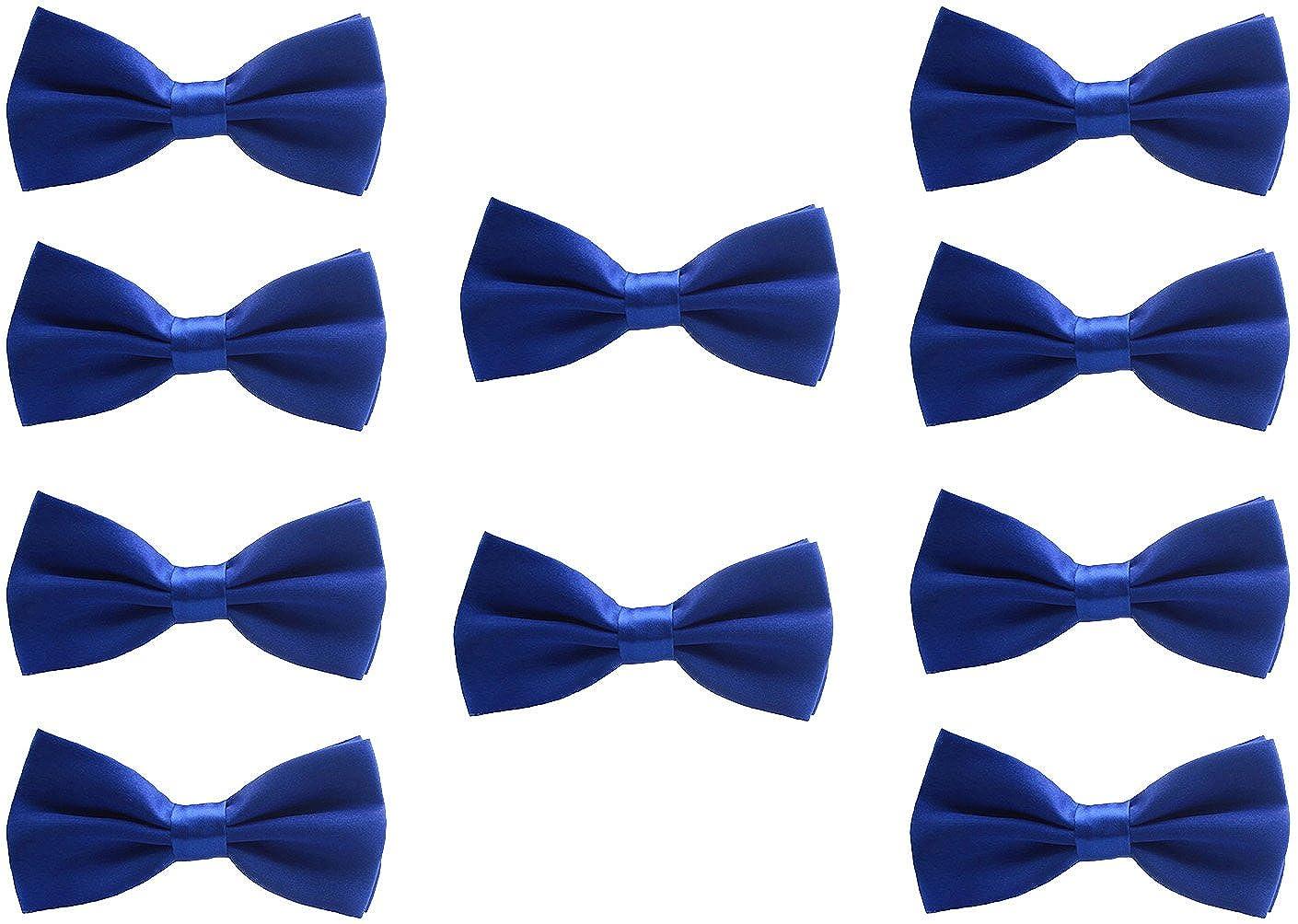 UDRES Men Formal Tuxedo 10 Pack Solid Color Satin Bow Tie Classic Pre-Tied Bowtie Black) tie005black