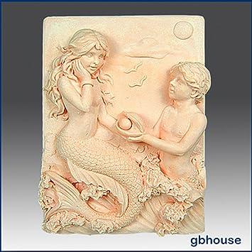 Par de sirena - detalle de alta alivio escultura - silicona jabón/arcilla de polímero de//Porcelana fría Mold: Amazon.es: Juguetes y juegos