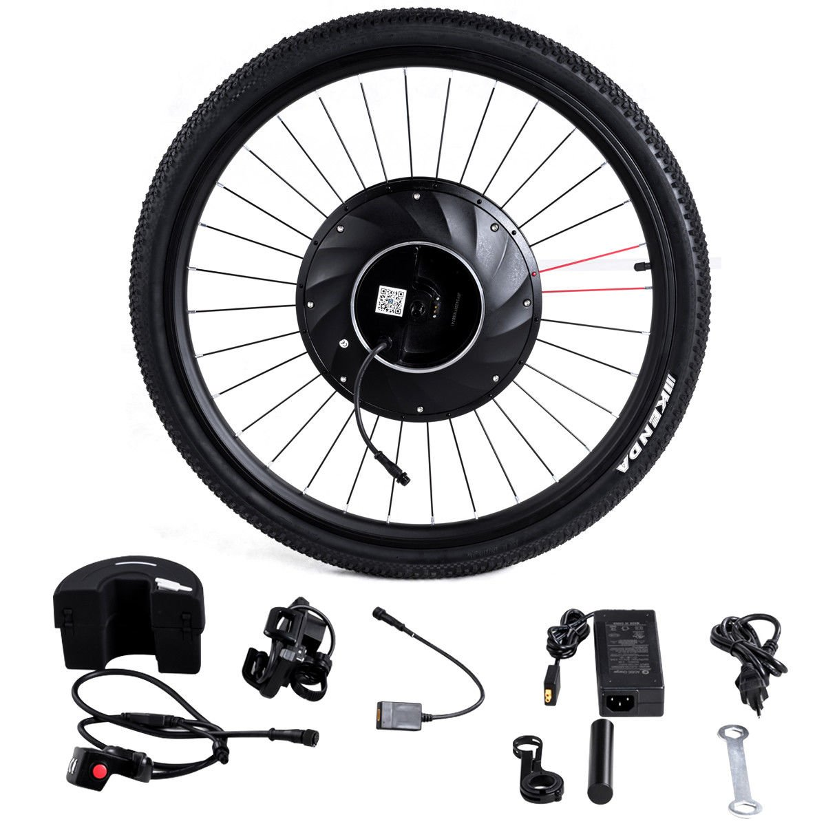 Goplus 26'' Front Bicycle Wheel Electric Bicycle Motor Kit E-Bike Conversion Kit Bicycle Accessories Set w/APP Interaction, Battery and USB Charger, 36V 240W