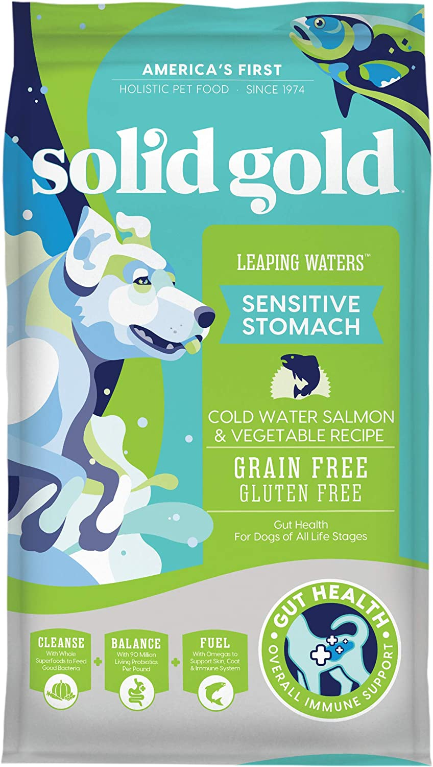 Solid Gold - Leaping Waters with Cold Water Salmon & Vegetable Recipe - Grain Free & Gluten Free for Sensitive Stomachs - Holistic Adult Dry Dog Food
