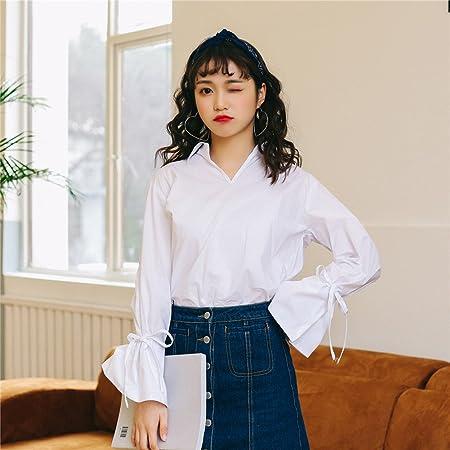 XXIN /Primavera/Camisa Blanca Manga Larga Mujer Estudiante ...