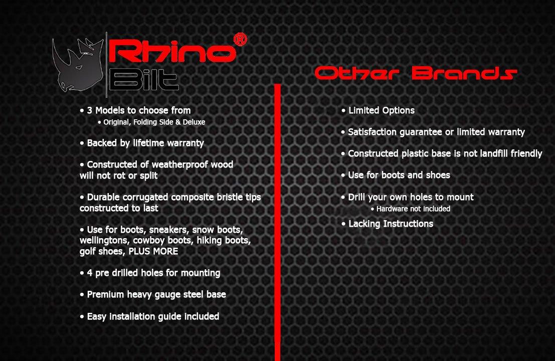 Rhino Bilt Boot Scraper, THE Original Boot Scrapers - Outdoor Boot Brush with Warranty