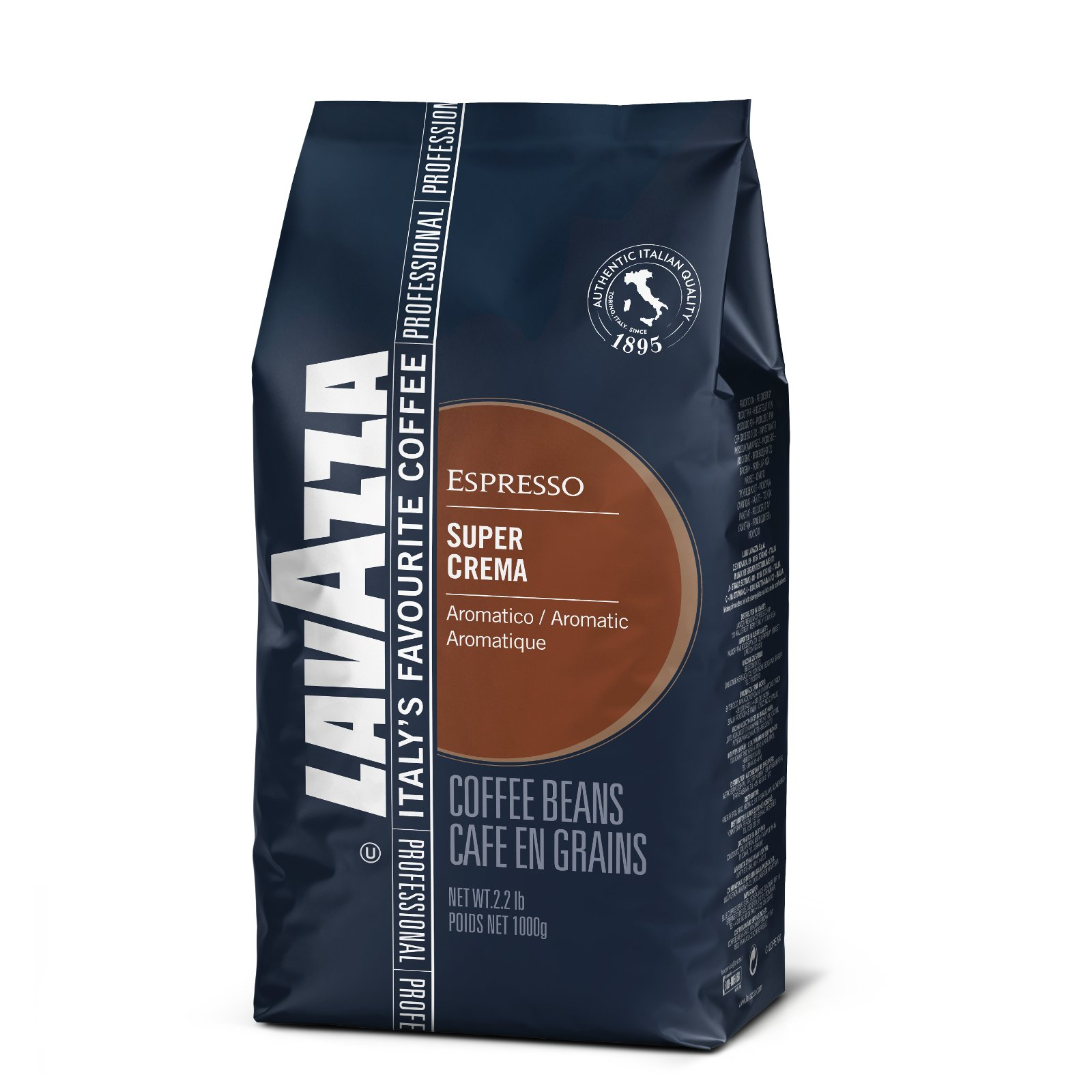 Lavazza Coffee Espresso Super Crema, Whole Beans, Pack of 8, 8 x 1000g