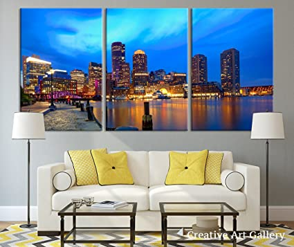 Boston Sunset Skyline In Massachusetts Large Canvas Print, Boston City  Cityscape Large Canvas Print,