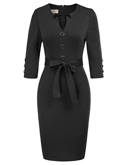 2fbf2559c0974 GRACE KARIN Women Retro 3/4 Sleeve Work Office Business Pencil Dress with  Belt
