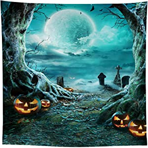 Allenjoy 8x8ft Halloween Night Full Moon Backdrop Supplies for Portrait Pictures Shoot Children Trick or Treat Background Decors Gloomy Woods Scary Graveyard Tombstone Studio Photoshoot Props Favors