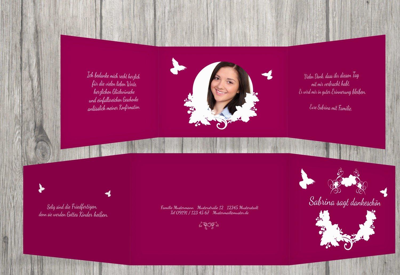 Kartenparadies Dankeskarte Konfirmation Konfirmation Dankeskarte Vogel, hochwertige Danksagung für Konfirmationsfeier inklusive Umschläge   10 Karten - (Format  148x105 mm) Farbe  Rosalila B01N39UV3N   Verpackungsvielfalt    Verrückte Preis   