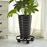 """Amagabeli 14"""" Metal Plant Caddy HEAVY DUTY Iron Potted Plant Stand with Wheels Round Flower Pot Rack on Rollers Dolly Holder on Wheels Indoor Outdoor Planter Trolley Casters Rolling Tray Coaster Black"""