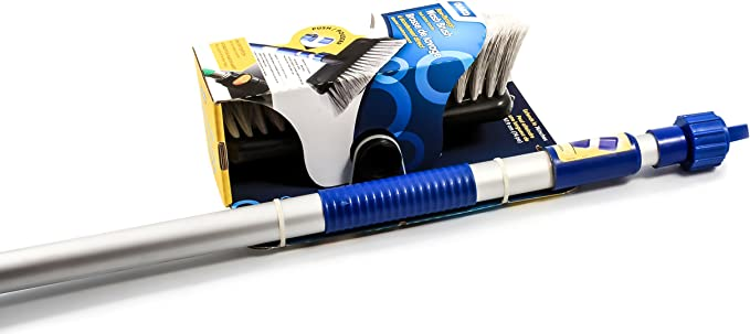 Camco Flow-Through Wash Brush with Push Button Telescoping Handle