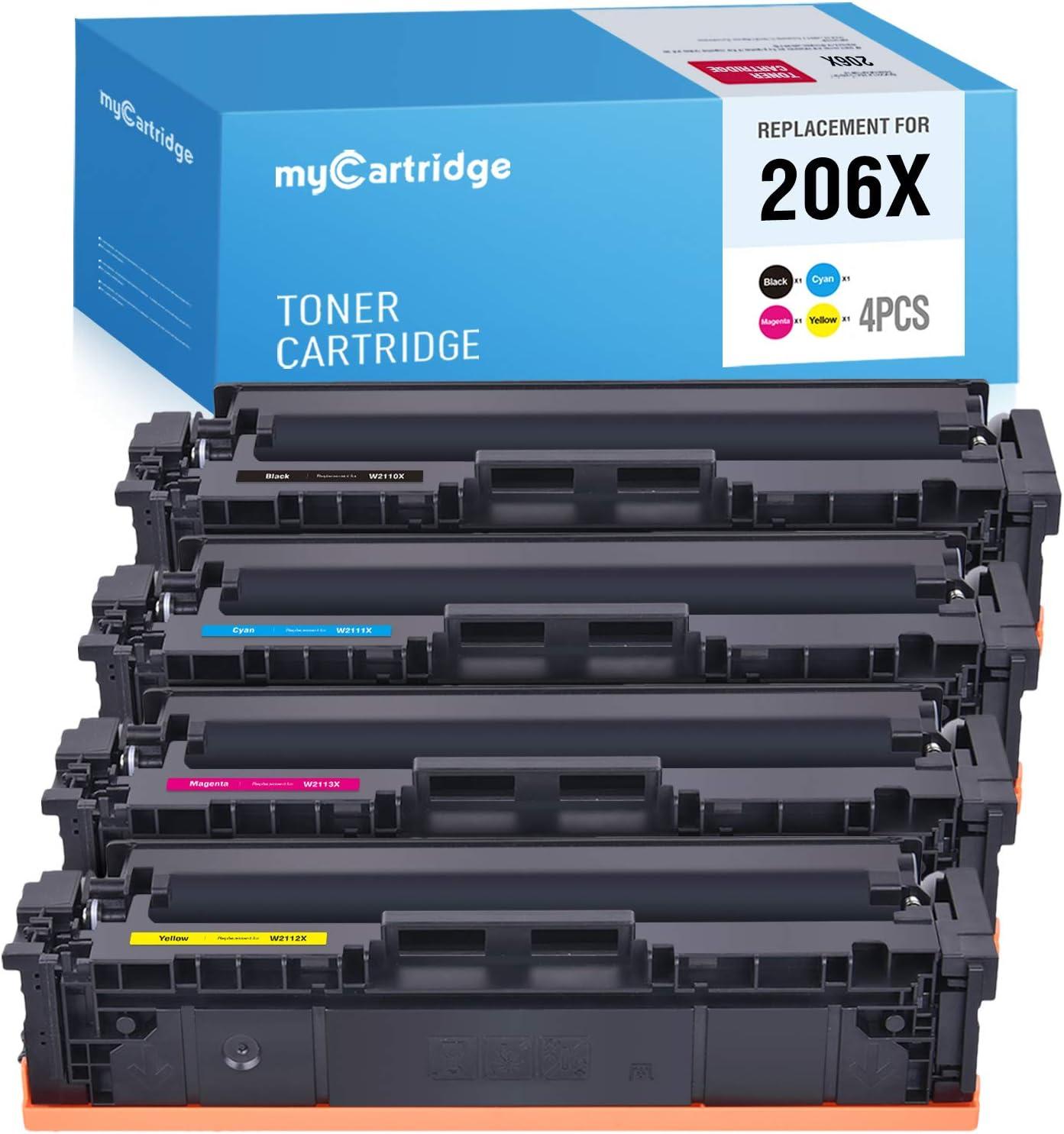 MYCARTRIDGE (NO CHIP) Compatible Toner Cartridge Replacement for HP 206X W2110X W2111X W2112X W2113X for Color Laserjet Pro M255dw MFP M283fdw M283cdw M282nw (Black, Cyan, Magenta, Yellow, 4-Pack)