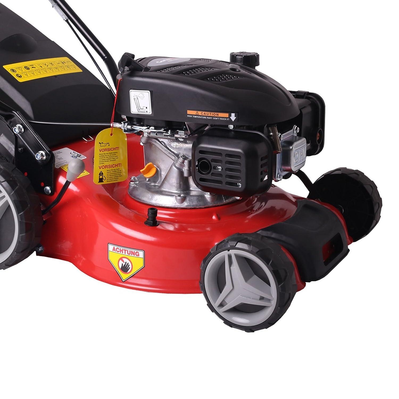 Cortacesped Gasolina Autopropulsado GartenXL 16L-123-M3 | 40cm Cortacesped Móvil | Recolección | Acoplamiento. Rueda motriz Q-Clean TÜV GS