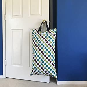Image: Large Hanging Wet Dry Bag for Cloth Diapers or Laundry | perfect for small spaces | hang the bag on the doorknob or hook