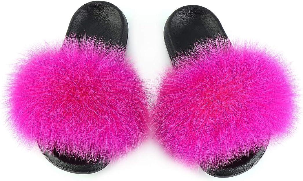 FOLOBE Pantoufles en Fausse Fourrure pour Femmes Bout Ouvert Pantoufles en Fausse Fourrure Filles Diapositives moelleuses en Plein air