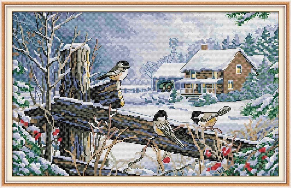 LanMent Bird on Fence Winter Stamped Cross Stitch Counted Kits Cross-Stitching Pattern Embroidery for Beginner Adults Home Decor Birthday Gift 14CT 18.9 x 12.6 inches