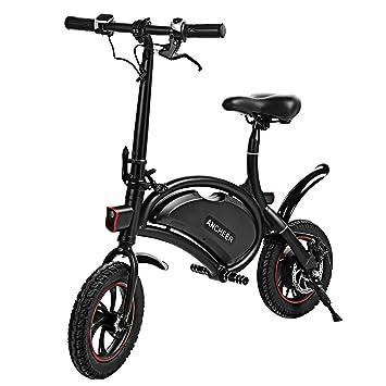 Bicicleta eléctrica plegable, de ANCHEER, con rango de funcionamiento de 25 km, batería