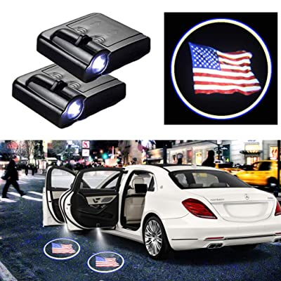 For American US Flag Car Door Logo Projector Light Ghost Shadow LED Courtesy Car Door Lights Fit for All Brands of Cars (2PCS): Automotive