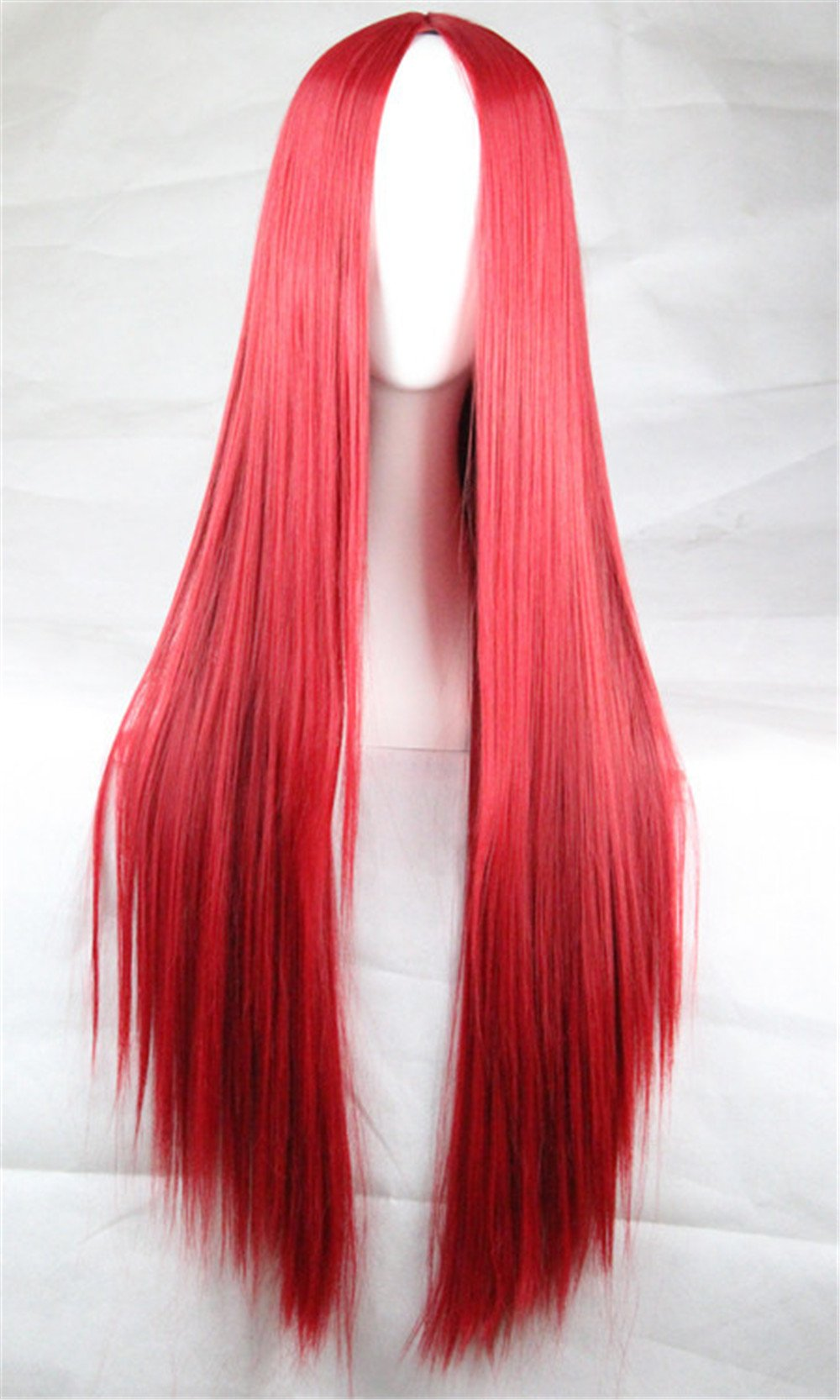 JYWIGS 100CM Long Red Wig No Bangs Straight Cosplay Party Costume Hair Middle Parted Rose Network Free Hairnet Christmas Gift