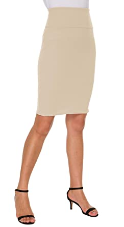 c5e655fc024155 Afibi Pencil Skirts for Women Casual Skirt Scuba Streychy Solid Color  Bodycon Skirts (Small,