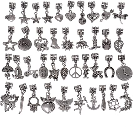 40//120pcs Tibetan silver//Bronze Spacer Beads Connectors Bail Charms Pendants