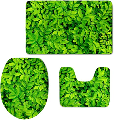 Coloranimal Creative Grün Pflanzen Print Badezimmer Teppiche Set Groß Contour Matte Mit Lippe Bezug Modern Leaves Pattern 4 Küche Haushalt