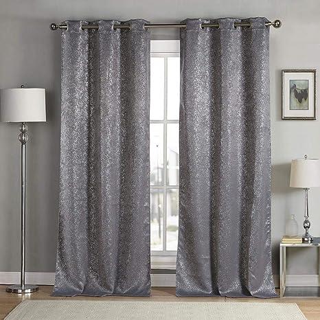 Amazon Com Kensie Maddie Blackout Curtain W38 X L84 Grey Home Kitchen